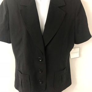 Sag Harbor stretch S 12 short sleeve black blazer